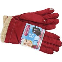 Grandoe Women's Red Suede Sensor-Touch Texting Gloves
