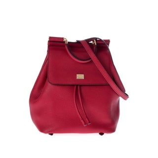 Dolce & Gabbana Sicily Red Leather Fashion Backpack