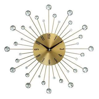 Benzara Metal Glass 15-inch Wall Clock - Thumbnail 0