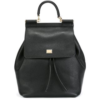 Dolce & Gabbana Socoly Black Leather Fashion Backpack