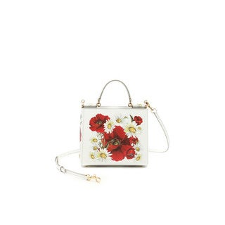 Dolce & Gabbana Miss Sicily White Leather Stamped Mini Tote Bag