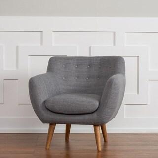 RST 'Rhodes' Mid-Century Modern Tufted Arm Chair in Steel Grey