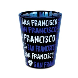 Puzzled I Love San Francisco Blue Glass Shot Glass