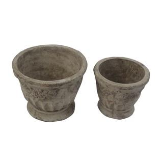 FireFly Beige Terracota 5.75-inch, 7-inch Pot (Set of 2)