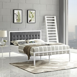 Millie Tufted Grey Fabric Platform Bed
