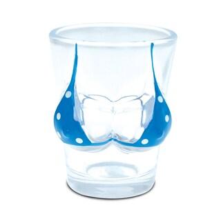 Puzzled Glass Blue Polka Dot Bikini Beach-themed Shot Glass