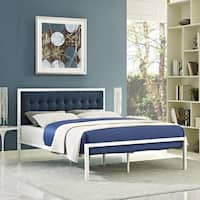 Millie Fabric Bed in White Azure