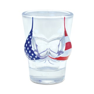 Puzzled Beach Theme US Flag Bikini Top Shot Glass
