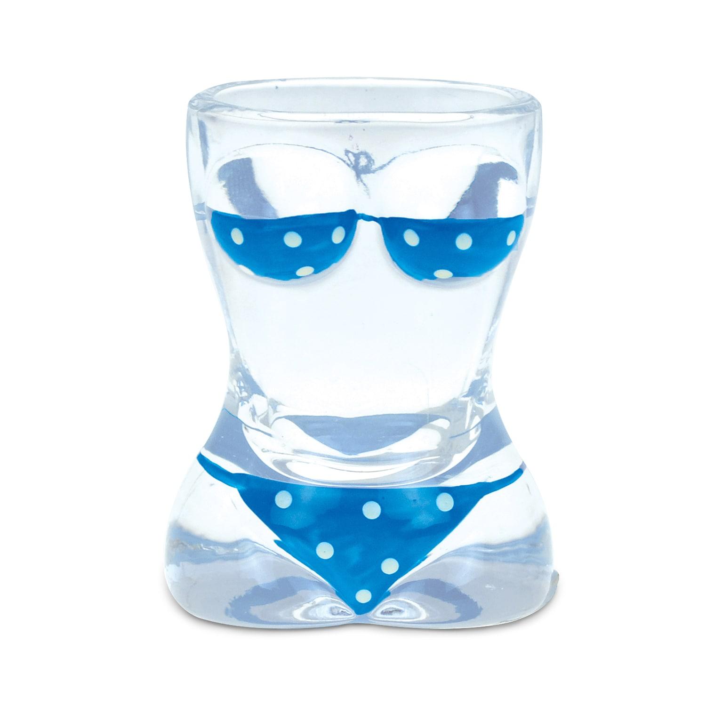 Puzzled Beach-theme Blue Polka-dot Bikini Shot Glass (Uni...