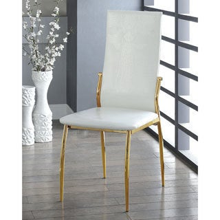 Furniture of America Duarte III Modern Crocodile Textured Leatherette Gold Dining Chairs (Set of 2)