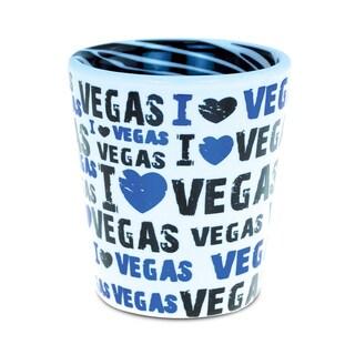 Puzzled Blue Ceramic I Love Vegas Zebra Pattern Shot Glass