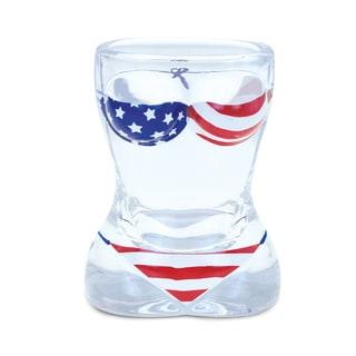 Puzzled US Flag Bikini Beach Theme Glass Shot Glass