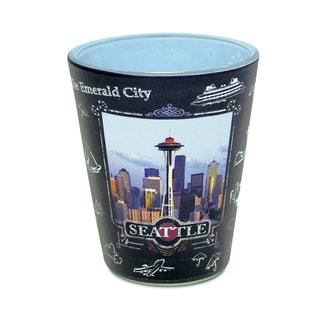 Puzzled Seattle Skyline Blackboard Shot Glass