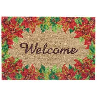 SuperScraper 'Printed Poinsettia' Coir Mat (16 in. x 24 in.)