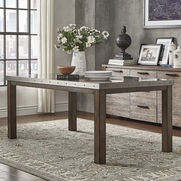 cassidy stainless steel top rectangle dining table