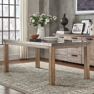 Link to Cassidy Stainless Steel Top Rectangle Dining Table by iNSPIRE Q Artisan - Silver Similar Items in Dining Room & Bar Furniture
