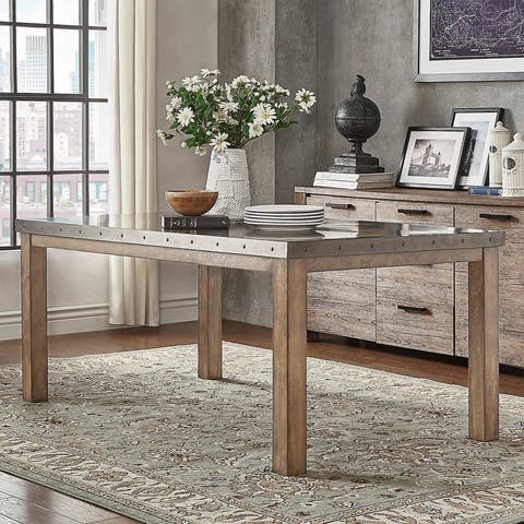 Cassidy Stainless Steel Top Rectangle Dining Table by iNSPIRE Q Artisan - Silver