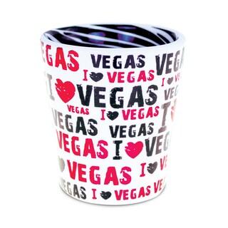 Puzzled Pink Ceramic I Love Vegas Zebra Pattern Shot Glass