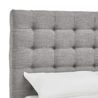 Briella Button Tufted Linen Upholstered King Size Headboard by MID-CENTURY LIVING