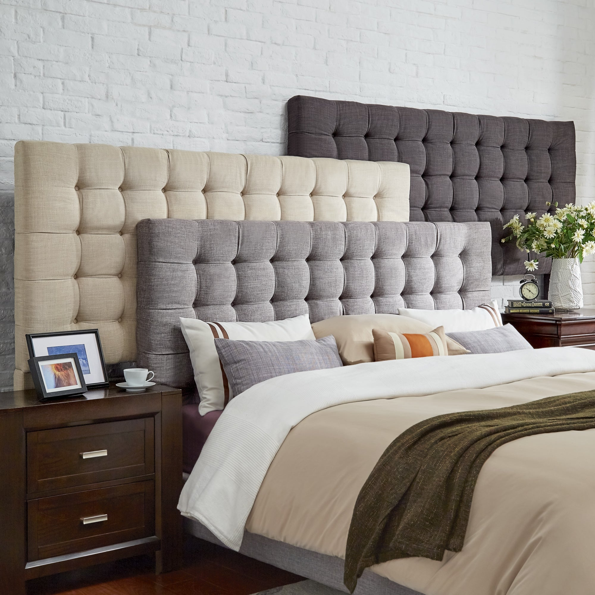 Briella Button Tufted Linen Upholstered Headboard iNSPIRE...