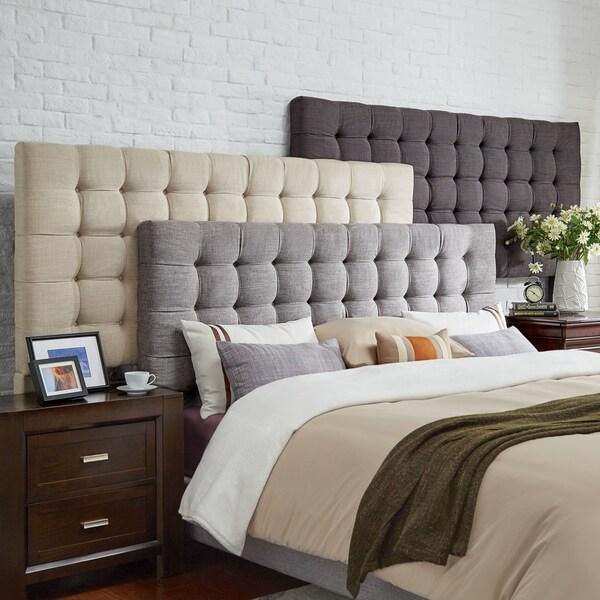 shop briella button tufted linen upholstered full size headboard inspire q modern free. Black Bedroom Furniture Sets. Home Design Ideas