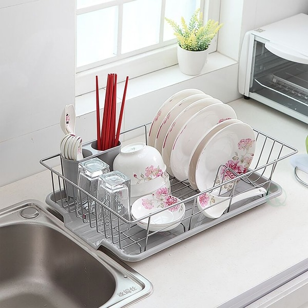 Basicwise Stainless Steel Dish Rack with Plastic Drain Board - Silver