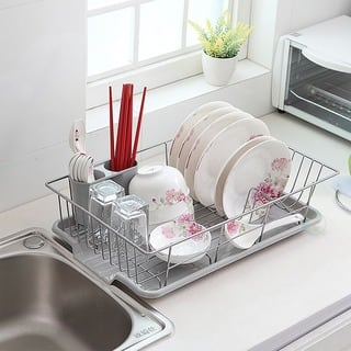 Basicwise Stainless Steel Dish Rack with Plastic Drain Board - Silver|https://ak1.ostkcdn.com/images/products/13620210/P20291219.jpg?impolicy=medium