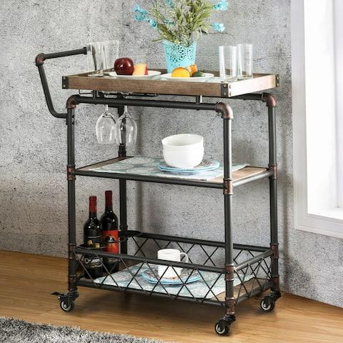 Carbon Loft Ketchum Industrial Antique Black 2-shelf Serving Cart