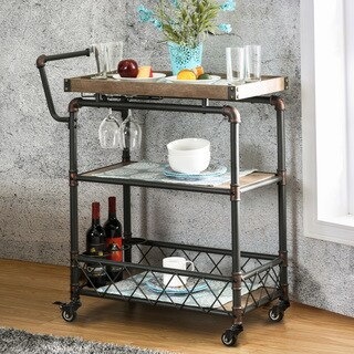 Furniture of America Herman Industrial Antique Black 2-shelf Serving Cart