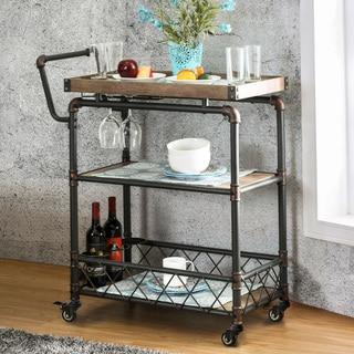 Furniture Of America Herman Industrial Antique Black 2 Shelf Serving Cart