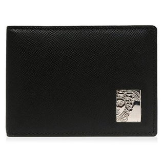 Versace Collection Black Saffiano Leather Bifold Wallet