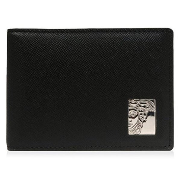 Shop Versace Collection Black Saffiano Leather Bifold