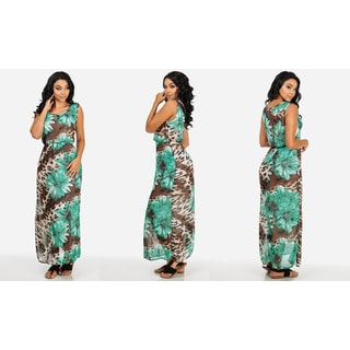 Women's Green Polyester Chiffon Dresses