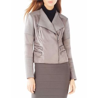 BCBG Max Azria 'Olympia' Grey Faux Suede Leather Jacket
