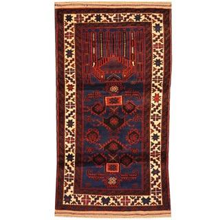 Herat Oriental Afghan Hand-knotted Tribal Balouchi Wool Rug (2'5 x 4'7)