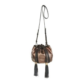 See by Chloe Lazer Gold Python Print Bucket Bag