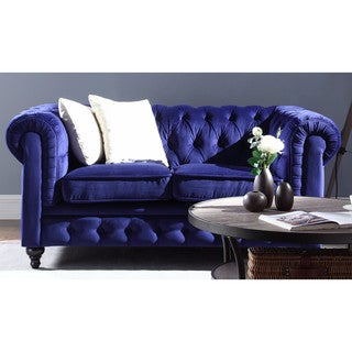 Classic Scroll Arm Tufted Velvet Chesterfield Loveseat in Navy