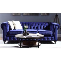 Classic Scroll Arm Tufted Velvet Chesterfield Large Sofa - Navy