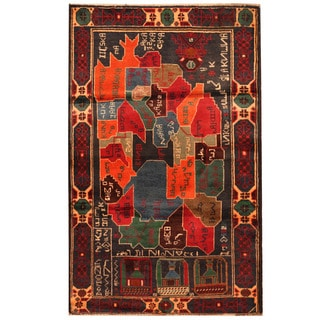 Herat Oriental Afghan Hand-knotted Tribal Balouchi Wool Rug (2'8 x 4'3)