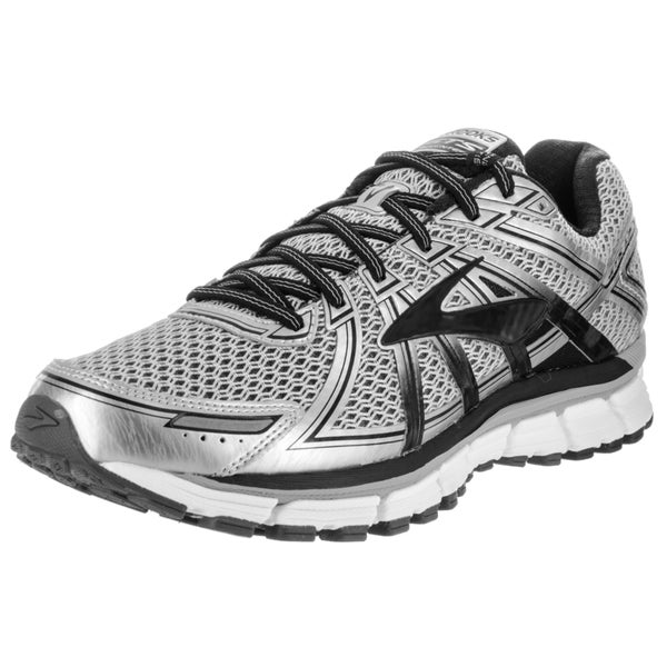 2c8e341cb3a86 Shop Brooks Men s Adrenaline GTS 17 Silver Running Shoes - Free ...