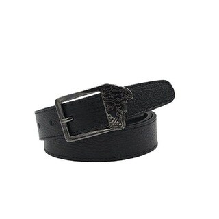 Versace Collection Black Pebbled Leather 72 Belt