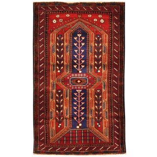 Herat Oriental Afghan Hand-knotted Tribal Balouchi Wool Rug (3' x 5')