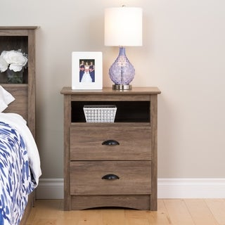 Prepac Driftwood Grey Wood/Laminate Tall 2-rawer Nightstand