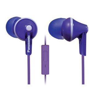 Panasonic ErgoFit In-Ear Earbuds Headphones Mic/Controller RP-TCM125-V (Purple)