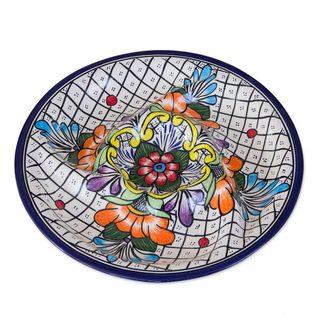 Talavera Ceramic Appetizer Platter, 'Guanajuato Flora' (Mexico)