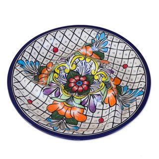 Handmade Talavera Ceramic Appetizer Platter, 'Guanajuato Flora' (Mexico)