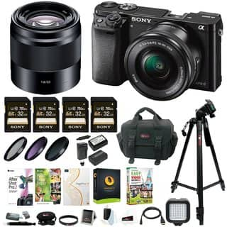 Sony Alpha a6000 Mirrorless Camera w/ 16-50mm & 50mm Lens & 32GB SD 4-Pack Card Bundle|https://ak1.ostkcdn.com/images/products/13620414/P20291399.jpg?impolicy=medium