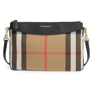 Burberry Peyton Wone Beige Check Crossbody Bag