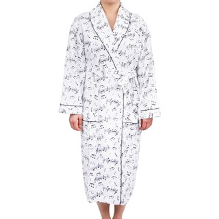 Leisureland Women's Cotton Flannel Novelty Long Robe Music Notes