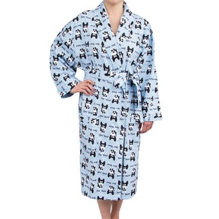 Leisureland  Women's Cotton Flannel Novelty Long Robe Bow Wow! Dog Design
